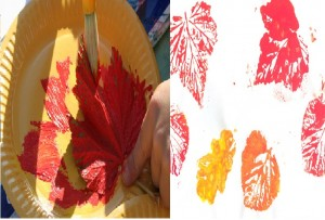 empreintes de feuilles à la peinture